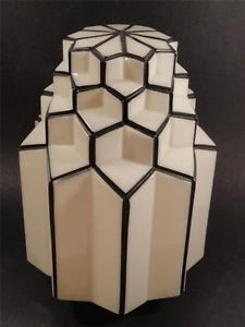 Large Antique Art Deco Ceiling Fixture Skyscraper Milk Glass Shade Lamp Shade