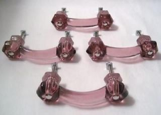 4 Amethyst Glass Antique Style Drawer Cabinet Pulls