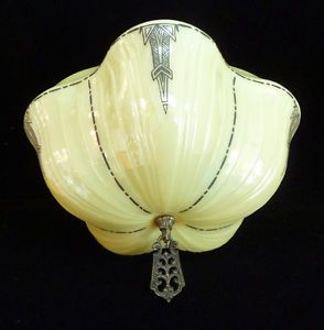 Antique Art Deco Hanging Ceiling Glass Light Lamp Shade Unusual Pillow Shape