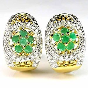 Beauteous Real Rich Green Emerald 2P Diamond Gold Plated 925 Silver Earrings