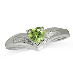 Heart Shape Arizona Peridot Diamond Gold Plated Sterling Silver Ring Sz 7