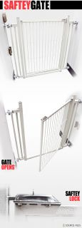 Safety Gate Easy Open Door Pet Baby Child Dog Expandable Barrier Fence Metal