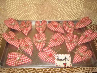 Primitive Handmade Fabric Christmas Heart Ornies Ornaments Bowl Fillers Decor