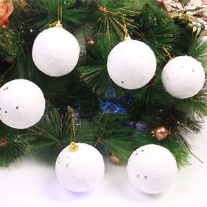 Lot 30 White Christmas Snowballs Xmas Tree Ornament Decor 4cm Snow Balls