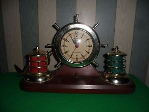Gibraltar Precision SHIP Wheel Port Starboard Lights Clock Works Makes Noise