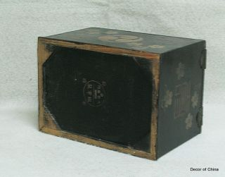 Unique Chinese Antique Black Painted Jewelry Box H12 16