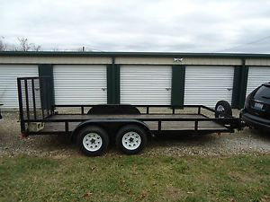 16ft Landscape Equipment Trailer 2 Axle Brakes Motorcycle ATV