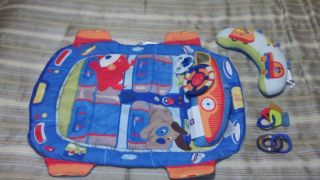 Bright Starts Tummy Time Race Car Mat with Toys EUC