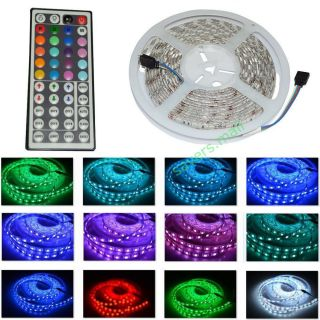 5M 16ft Waterproof SMD5050 LED Strip RGB Light 44 Key Remote Multicolor w Power