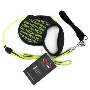 Flexi Neon Retractable Cord Pet Dog Leash 16ft 26 lbs Black Yellow Size S