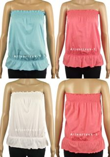New Ladies Womens Ruched Strapless Cotton Top 3X Colours Size 6 22