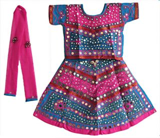 Indian Kid's Girls Pink Color Ghaghra Choli Dress Set Fancy Gift Item Girls Wear