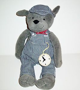 Pottery Barn Kids Puppy Dog Train Conductor Plush Overalls Hat Stuffed Animal