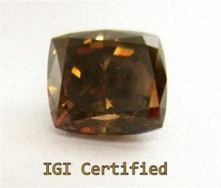 1 04 Ct IGI Natural Fancy Brown Diamond Cushion Brilliant Loose for Ring Pedant