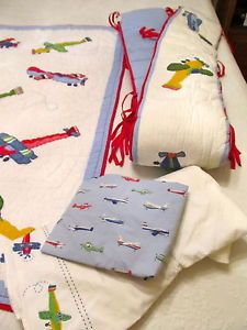 Pottery Barn Kids Airplane Boy Crib Bedding Set Quilt Bumpers Skirt Sheet EUC
