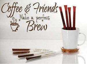 Coffee Friends Vinyl Lettering Wall Art Words Quotes Kitchen Home Decor
