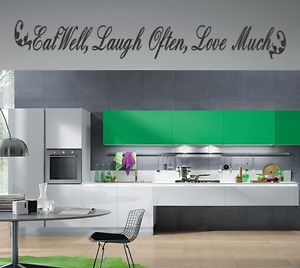 Eat Laugh Love Kitchen Vinyl Wall Quote Decal Stickers