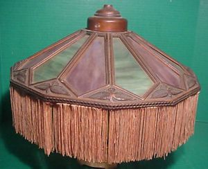 Antique Copper Slag Glass Lamp Shade Early 1900's No Base Arts Crafts Era