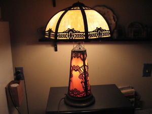 C1910 Art Nouveau Table Lamp w Lighted Slag Glass Base 8 Panel Shade Antique