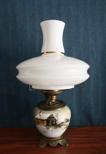 Antique Hand Painted Porcelain Lamp Solid Brass Victorian Base Deco Glass Shade