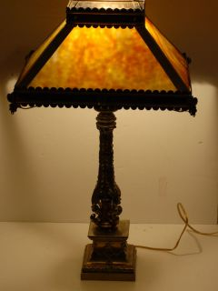 Antique Table Lamp Light Carmel Slag Glass Brass Tin Shade Lincoln Drape Base