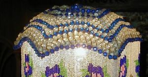 Czech Art Deco Handel Base Lamp Blue Crystal Umbrella Shade Like Fruit Basket
