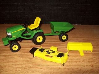 Ertl 1 16 John Deere X585 4x4 Lawn Garden Tractor Mower with Tiller and Cart