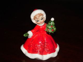 Vintage Lefton Figurine Girl in Red Dress Holding Christmas Tree 6604