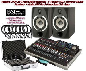 Tascam DP24 Digital 24 Track Tannoy Studio Monitors Audix BP5 Pro Mic Pack Free