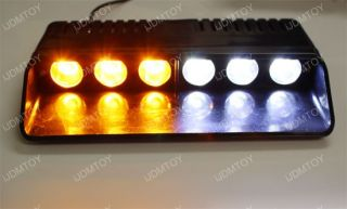 Amber White 6 LED 6W High Power Emergency Car Dash Warning Strobe Flashing Light