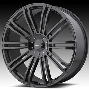22 inch KMC Black Wheels Rims 5x5 5x127 2007 Jeep Wrangler Lifted