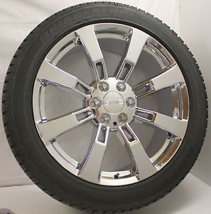 New Chrome 22 inch 8 Spoke GMC Sierra Yukon Denali Wheels Rims Tires Sensors