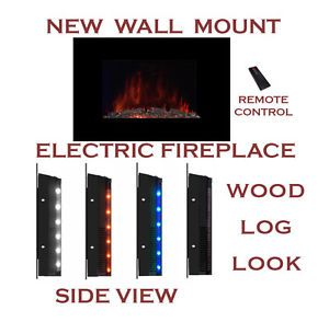"Large 35 5"" x 22"" 1500W Adjustable Heat Electric Wall Mount Fireplace with Logs"