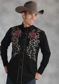 Roper Mens Western Shirt Country Rose Twill Cotton Long Sleeve Black 0341