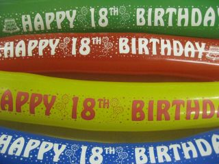 4ft Extra Long 18th Happy Birthday Balloon Banner Party Balloons Eighteen Office