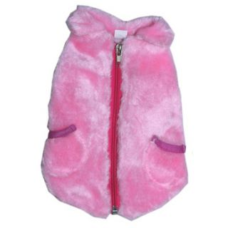 941 XS M Pink Faux Fur Zipped Coat Jacket Dog Clothes