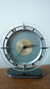 Smiths Art Deco Glass and Chrome Mantel Clock