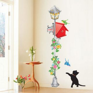 Mailbox Cat Flower Wall Decal Removable Decor Stickers