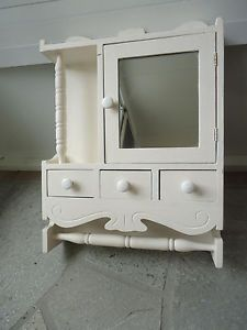 Antique Bathroom Wall Medicine Cabinet w Mirror Drawers Towel Holder