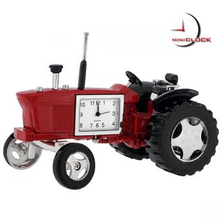 Miniature Clock Vintage Red Farm Tractor w Moving Wheels
