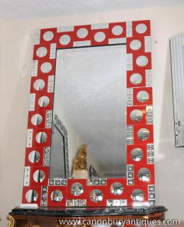 French Art Deco Mirror Red Glass Frame Pier Mirrors