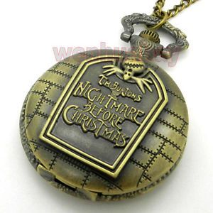 Bronze Quartz Nightmare Before Christmas Pocket Watch Necklace Pendant Gift P49