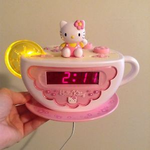Hello Kitty Tea Cup Clock Radio with Night Light for Girls
