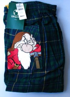 Disney Flannel Pajamas Mens Grumpy Cotton Plaid Lounge Pants Large New