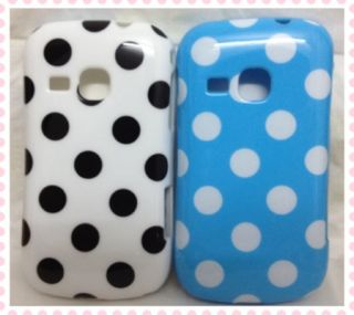 2X White Blue Polka Dots Soft Back Cover Case for Samsung Galaxy Mini 2 S6500