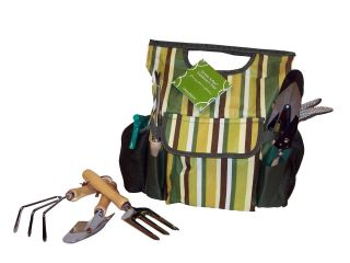 New Green Arbor Garden Tote Caddy w Tools 10 Piece Bag Shovel Weeder Gloves Etc