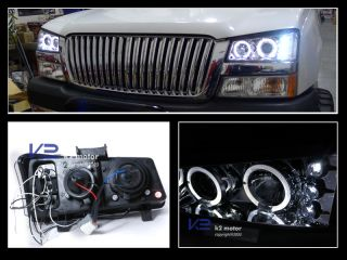 2003 2007 Chevy Silverado Chrome LED Projector Halo Headlights