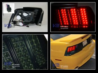 99 04 Mustang LED Sequential Turn Signal Smoke Tail Lights Rear Lamps