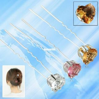 10 Wedding Party Bridal Pink Coffee Clear Crystal Rhinestone Hair Pin Hairpins