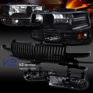 Black 99 02 Chevy Silverado Headlight Bumper Lamp Hood Grill Smoke Fog Lights